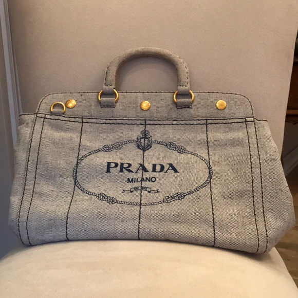 4b5068851a1e Authentic Prada Logo Large Canvas Grey Tote. M_5ab832c261ca104963e07a6f